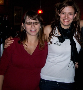 Me (looking at least 10 lbs <i>lighter</i> than my nearly-7-months-pregnant belly <i>feels</i>) & the Beautiful Sarah