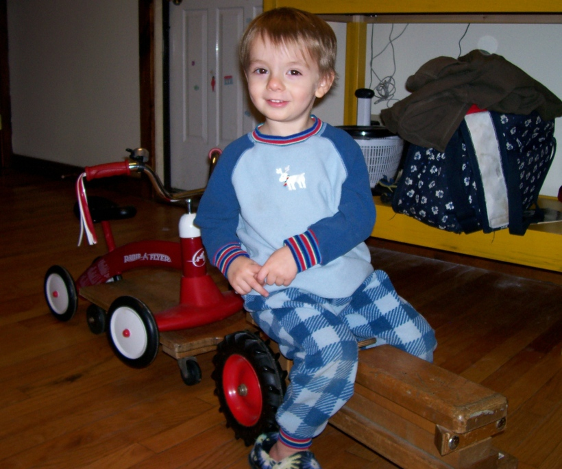 """""""I'm taking my bicycle for a ride on my tractor, Mommy!"""""""