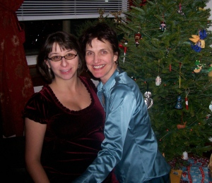 Lea & I by her Christmas tree.